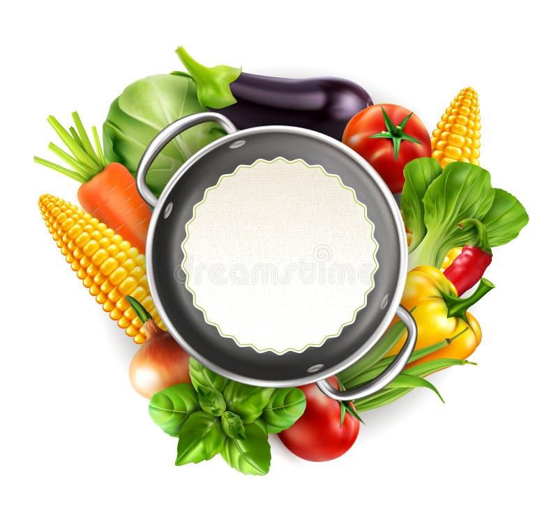 Vectormenupatroon met groentenwortelen, kool, basilicum, aan vector illustratie