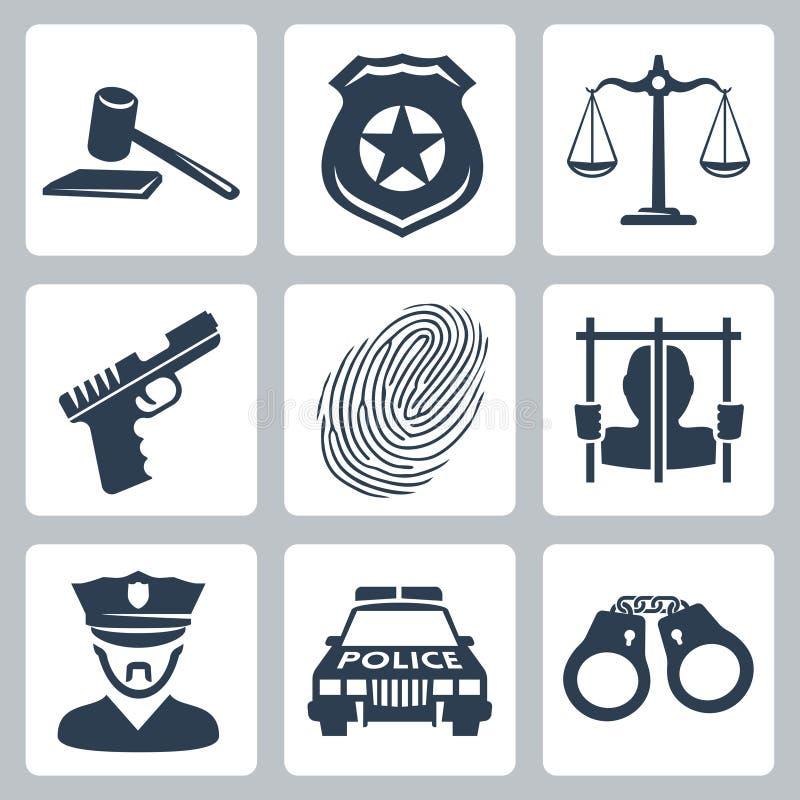 Vectormisdadiger/politie geplaatste pictogrammen vector illustratie
