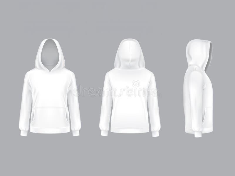 Vectormodel met realistische witte hoodie stock illustratie