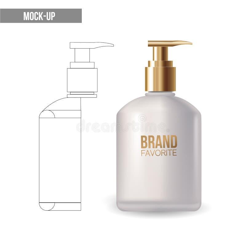 Vectormodel realistisch pakket voor luxecosmetische product plastic containers met gouden GLB: fles voor vloeistof, huid vector illustratie