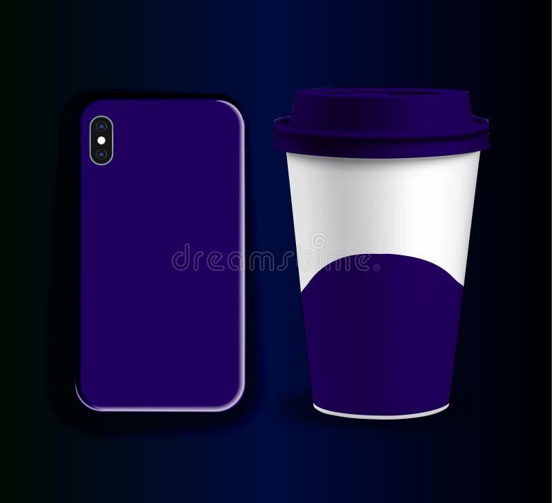 Vectormodel van een plastic kop voor koffie en dekking voor iphone vector illustratie