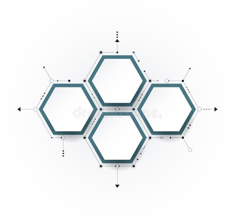 Vectormolecule met 3D document etiket, geïntegreerde Hexagon achtergrond vector illustratie