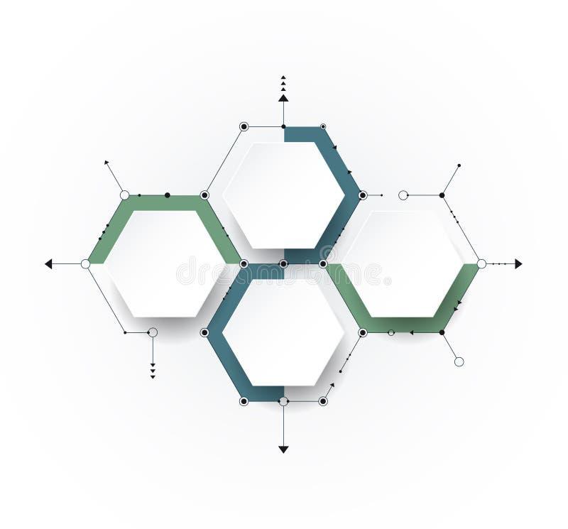 Vectormolecule met 3D document etiket, geïntegreerde Hexagon backgroud stock illustratie