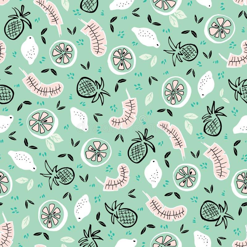 Vectormunt witte en roze tropische vruchten naadloze patroonachtergrond stock illustratie