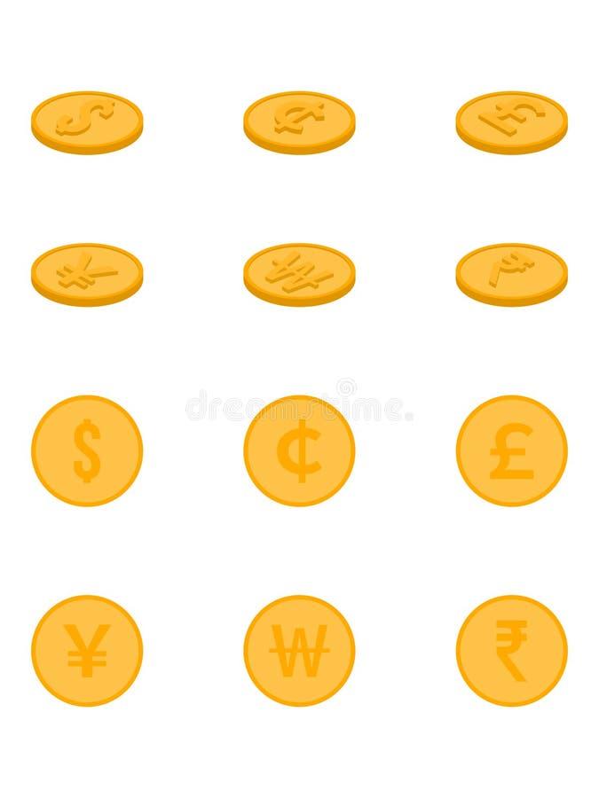 Vectormuntstukdollar, Cent, Euro, Gewonnen Yen, Roepie Vectorillustratie vector illustratie