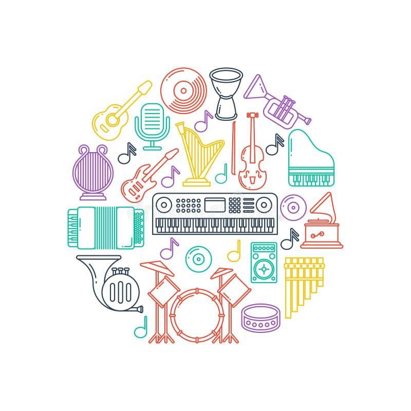 Vectormuziekaffiche met de muzikale pictogrammen van de instrumentenlijn vector illustratie