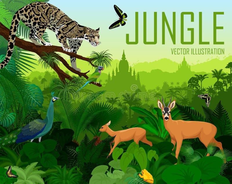 Vectormyanmar wildernisbos met betrokken luipaard, Groene peafowl, deers, kikker en vlinders stock illustratie