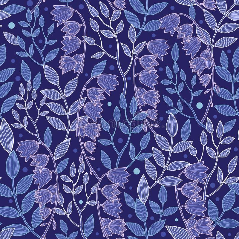 Vectornacht meest forrest bloemen naadloos patroon stock illustratie