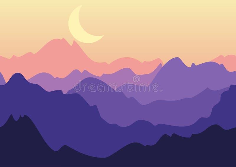 Vectornachtlandschap, purpere bergen en maan op hemel nave vector illustratie