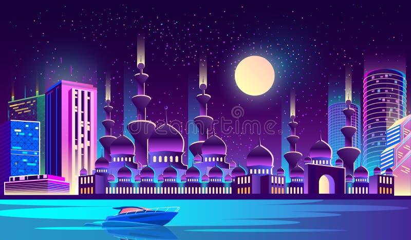 Vectornachtstad met moslimmoskee, wolkenkrabbers stock illustratie