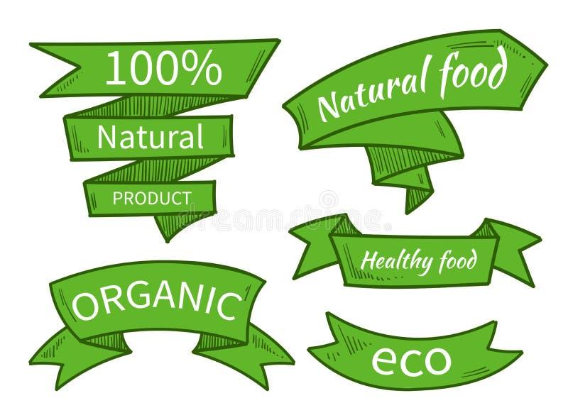 Vectornatuurvoeding, eco, biologisch productmalplaatjes, kentekens, etiketten Overhandig getrokken linten Vector illustratie stock illustratie