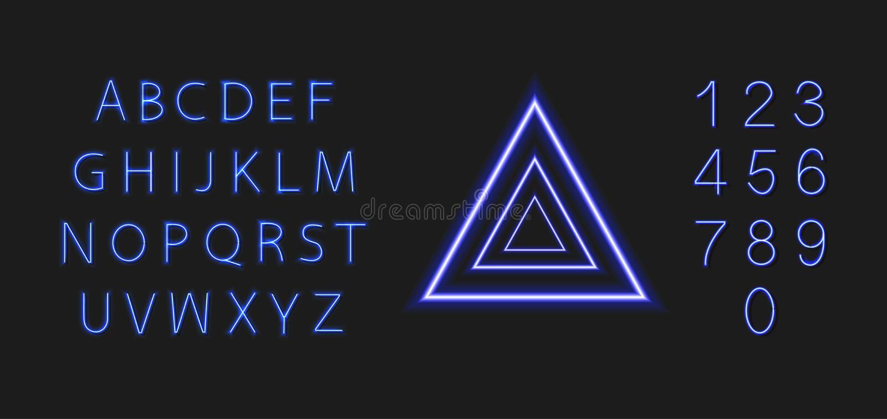 Vectorneon Glanzende Driehoek en Gloeiende Doopvont, Heldere Blauwe Kleurrijke Geïsoleerde Illustratie stock illustratie