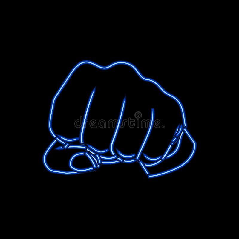 Vectorneonvuist, Menselijke Hand Gesturing, Helder Blauw Licht royalty-vrije illustratie