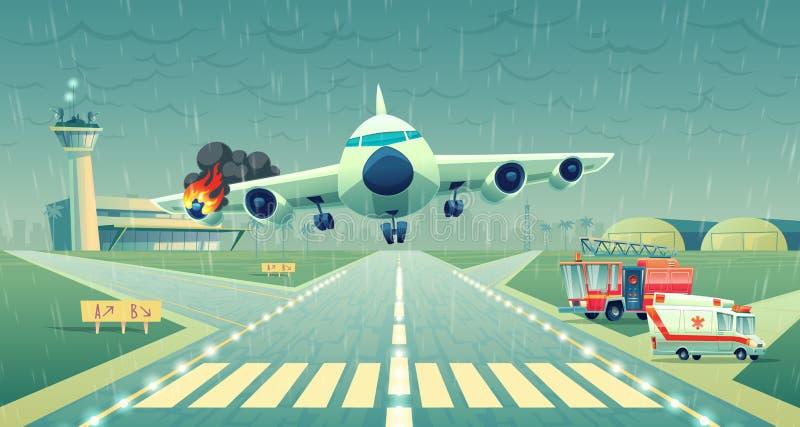 Vectornoodsignaal landend vliegtuig op strook, ongeval royalty-vrije illustratie