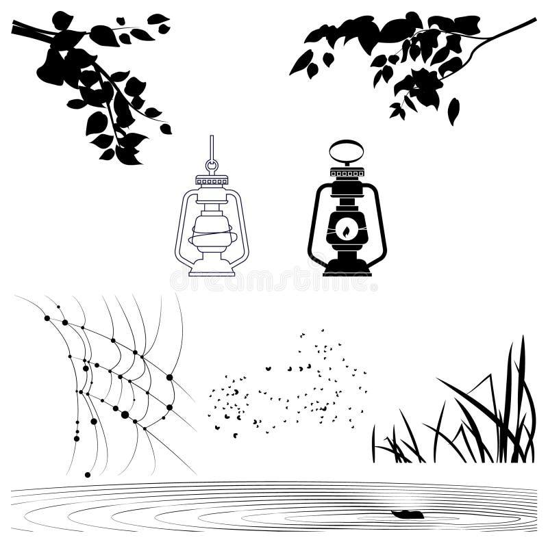 Vectorobjecten silhouetten van boomtakken, lantaarns royalty-vrije illustratie