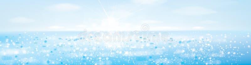 Vectoroceaan met blauwe hemel in zonneschijn stock illustratie