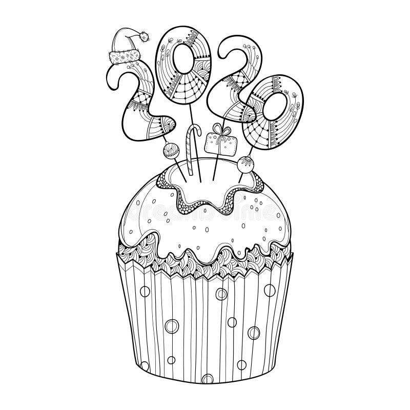 Vectoromtrek cupcake met nummer 2020 in zwart geïsoleerd op witte achtergrond Begrip van het jaar 2020 met contour decor vector illustratie