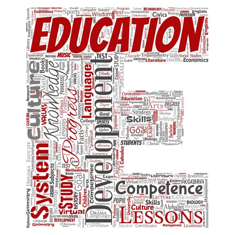 Vectoronderwijs, kennis, de doopvont E van de informatiebrief vector illustratie