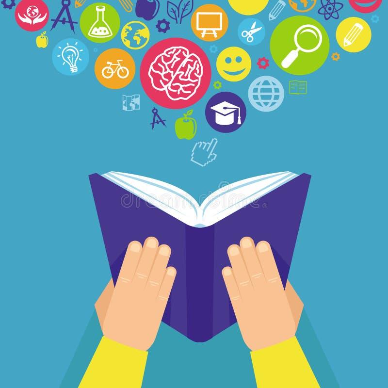 Vectoronderwijsconcept - handen die boek houden stock illustratie