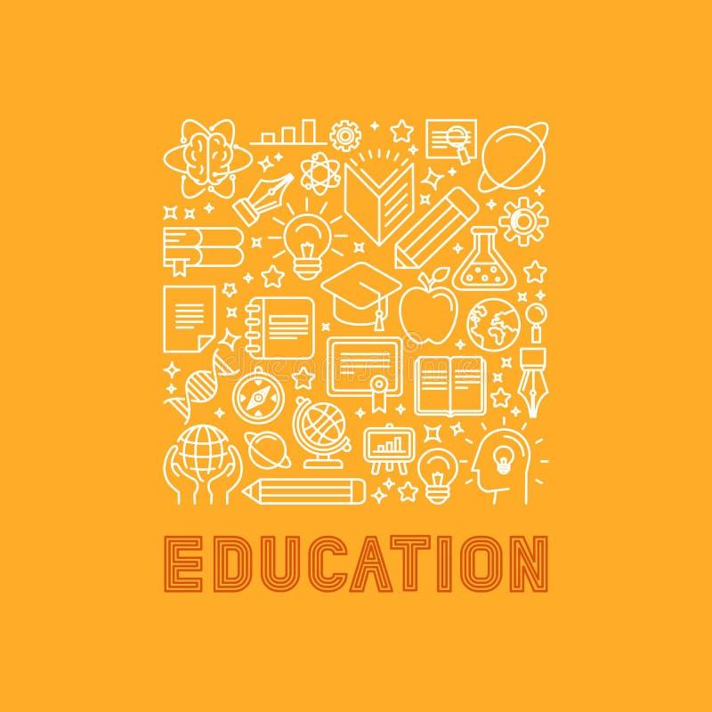 Vectoronderwijsconcept in in lineaire stijl vector illustratie