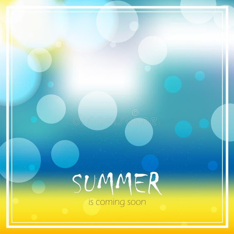 Vectoronduidelijk beeldachtergrond met tekst De zomer komt spoedig Het ontwerp van het strandzeegezicht royalty-vrije illustratie