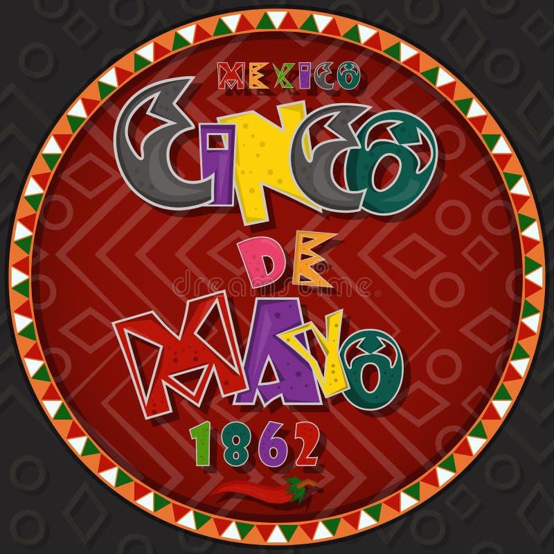 Vectorontwerp in het cirkel Mexicaanse thema die van ornament_1_on Cinco DE Mayo in vlakke het van letters voorzien kalligrafie i stock illustratie