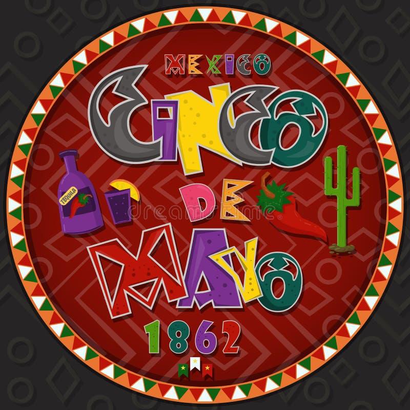 Vectorontwerp in het cirkel Mexicaanse thema die van ornament_4_on Cinco DE Mayo in vlakke het van letters voorzien kalligrafie i vector illustratie