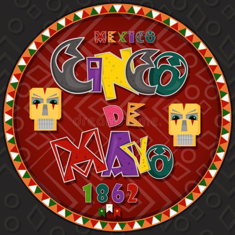 Vectorontwerp in het cirkel Mexicaanse thema die van ornament_6_on Cinco DE Mayo in vlakke het van letters voorzien kalligrafie i stock illustratie