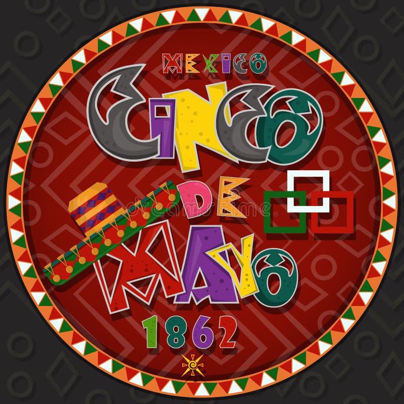 Vectorontwerp in het cirkel Mexicaanse thema die van ornament_3_on Cinco DE Mayo in vlakke het van letters voorzien kalligrafie i vector illustratie