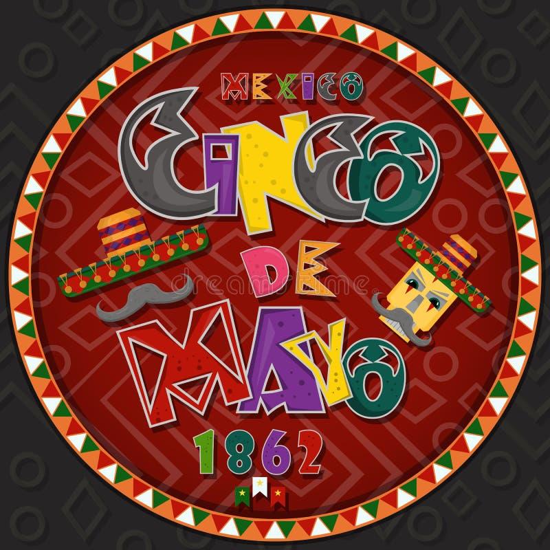 Vectorontwerp in het cirkel Mexicaanse thema die van ornament_5_on Cinco DE Mayo in vlakke het van letters voorzien kalligrafie i stock illustratie
