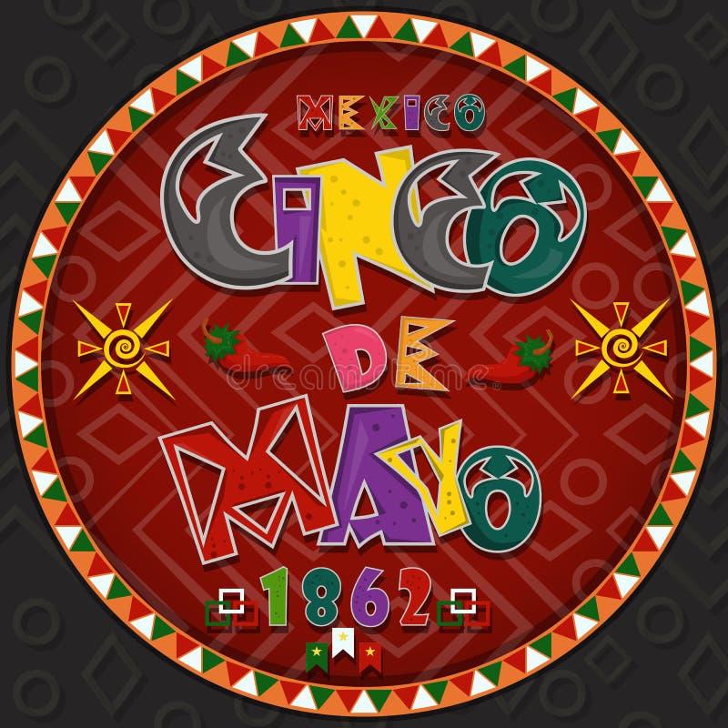 Vectorontwerp in het cirkel Mexicaanse thema die van ornament_7_on Cinco DE Mayo in vlakke het van letters voorzien kalligrafie i stock illustratie
