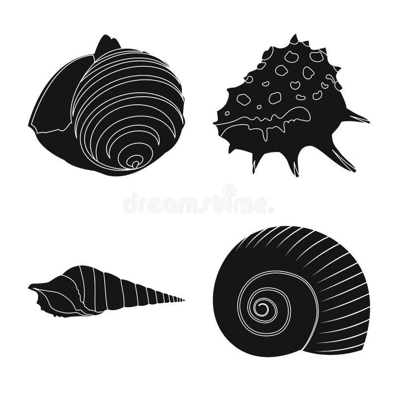 Vectorontwerp van aard en oceaanembleem Inzameling van aard en weekdier vectorpictogram voor voorraad royalty-vrije illustratie