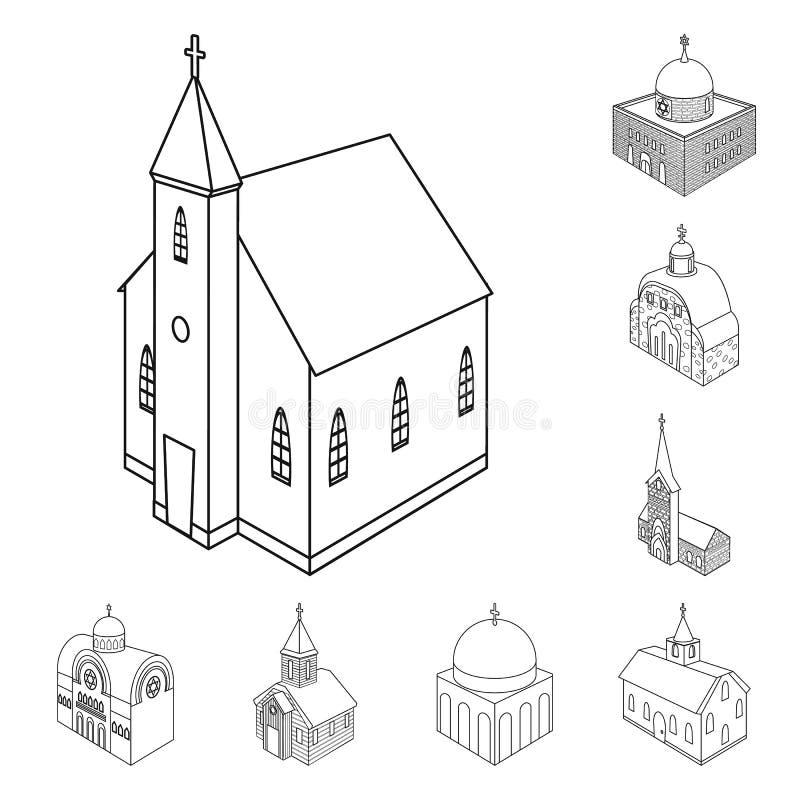 Vectorontwerp van architectuur en de bouwembleem Inzameling van architectuur en geestelijkheids vectorpictogram voor voorraad vector illustratie