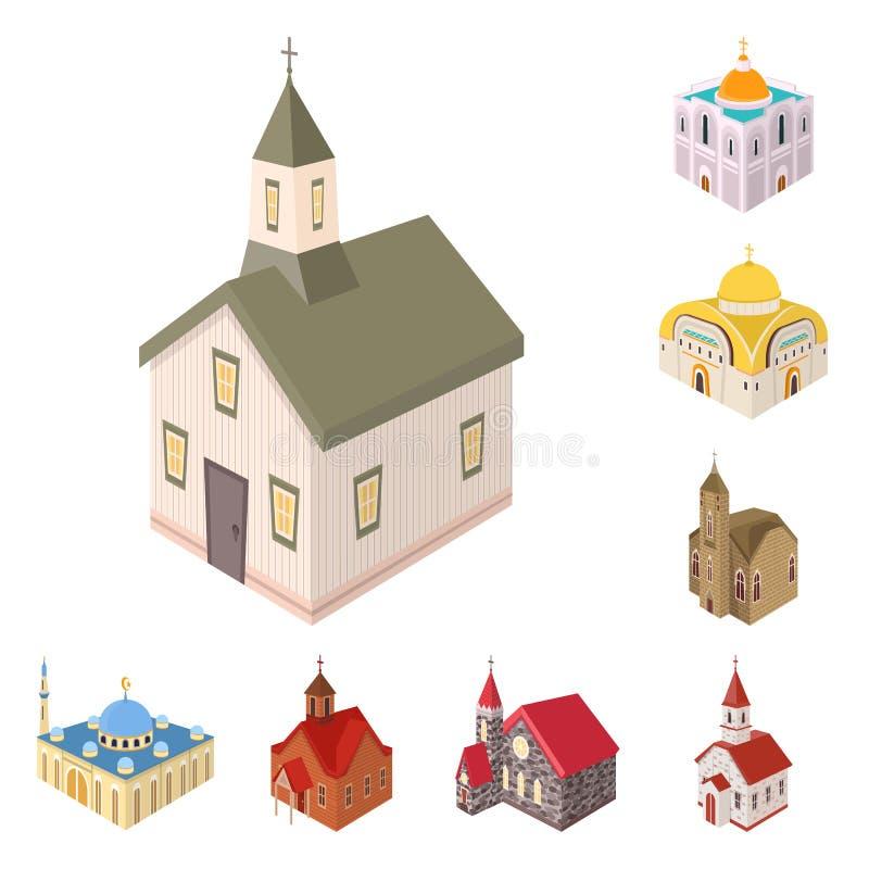 Vectorontwerp van architectuur en de bouwsymbool Reeks van architectuur en de vectorillustratie van de geestelijkheidsvoorraad vector illustratie