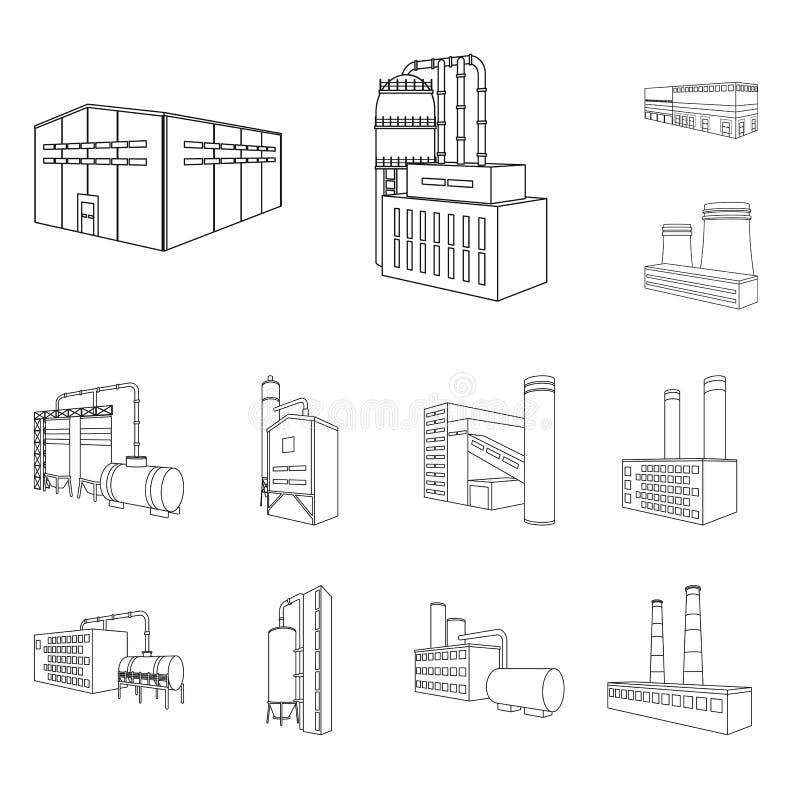 Vectorontwerp van architectuur en industrieel pictogram Inzameling van architectuur en de bouw vectorpictogram voor voorraad stock illustratie