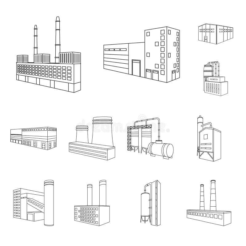 Vectorontwerp van architectuur en industrieel teken Inzameling van architectuur en de bouw vectorpictogram voor voorraad vector illustratie