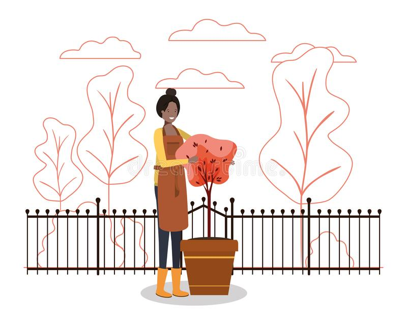 Vectorontwerp van Avatar woman and gardening concept vector illustratie