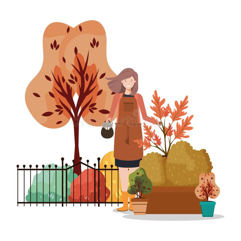 Vectorontwerp van Avatar woman and gardening concept stock illustratie