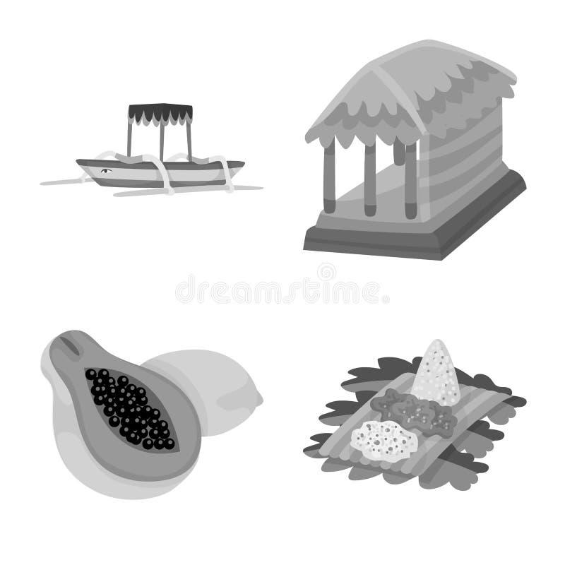 Vectorontwerp van Aziaat en aardrijkskundeembleem Inzameling van Aziaat en het symbool van de toerismevoorraad voor Web royalty-vrije illustratie
