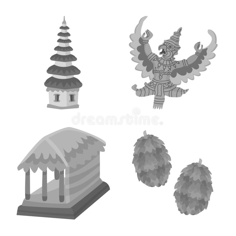 Vectorontwerp van Aziaat en aardrijkskundepictogram Reeks van Aziaat en de vectorillustratie van de toerismevoorraad stock illustratie