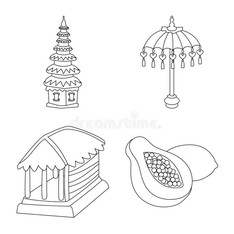 Vectorontwerp van Balinees en Cara?bisch teken Inzameling van de vectorillustratie van de Balinese en aardrijkskundevoorraad stock illustratie