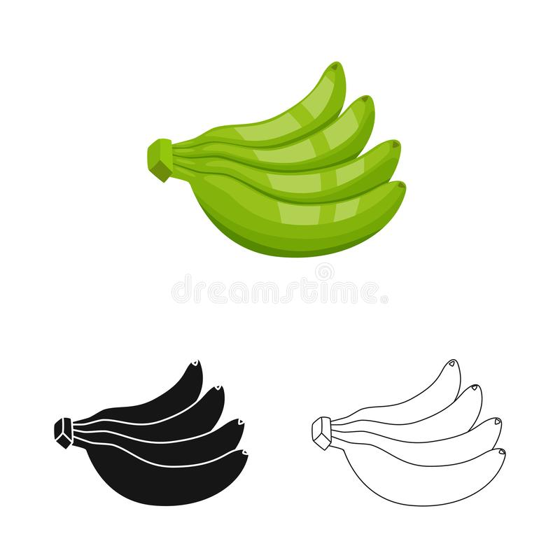 Vectorontwerp van banaan en bosembleem Inzameling van banaan en voedsel vectorpictogram voor voorraad royalty-vrije illustratie