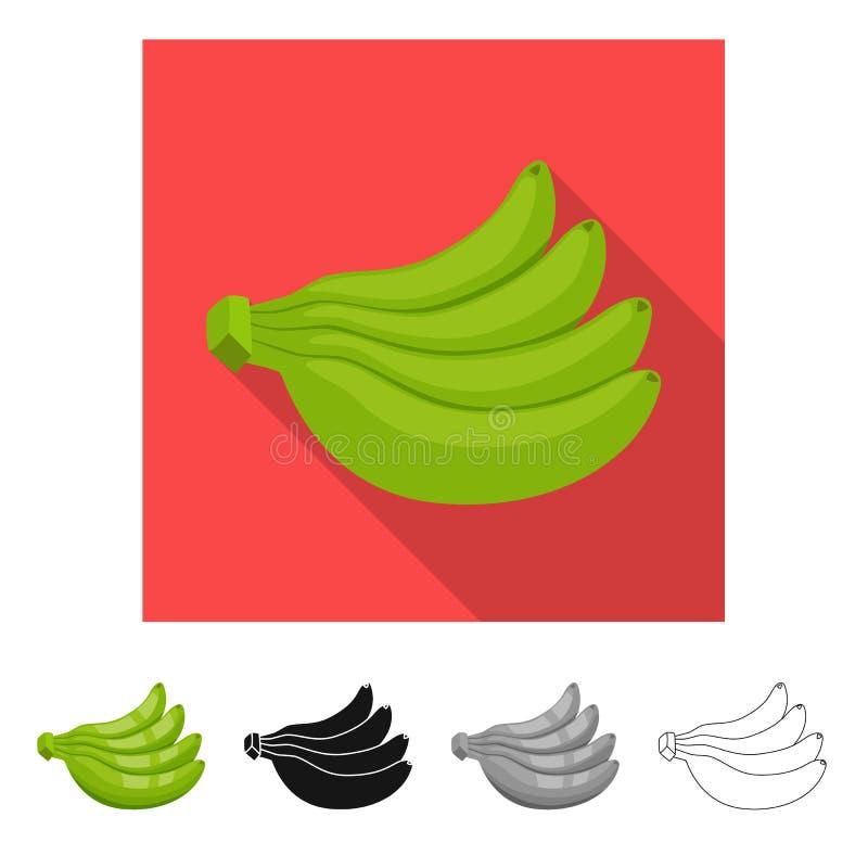 Vectorontwerp van banaan en bospictogram Inzameling van banaan en voedselvoorraadsymbool voor Web vector illustratie