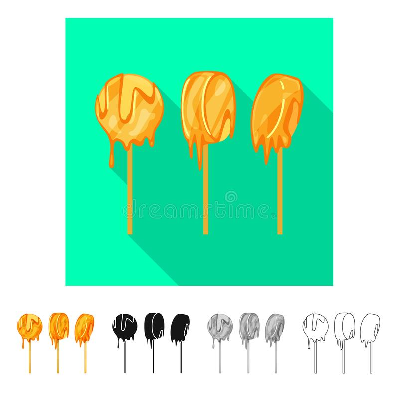 Vectorontwerp van banaan en karamelsymbool Inzameling van banaan en zoet voorraadsymbool voor Web stock illustratie