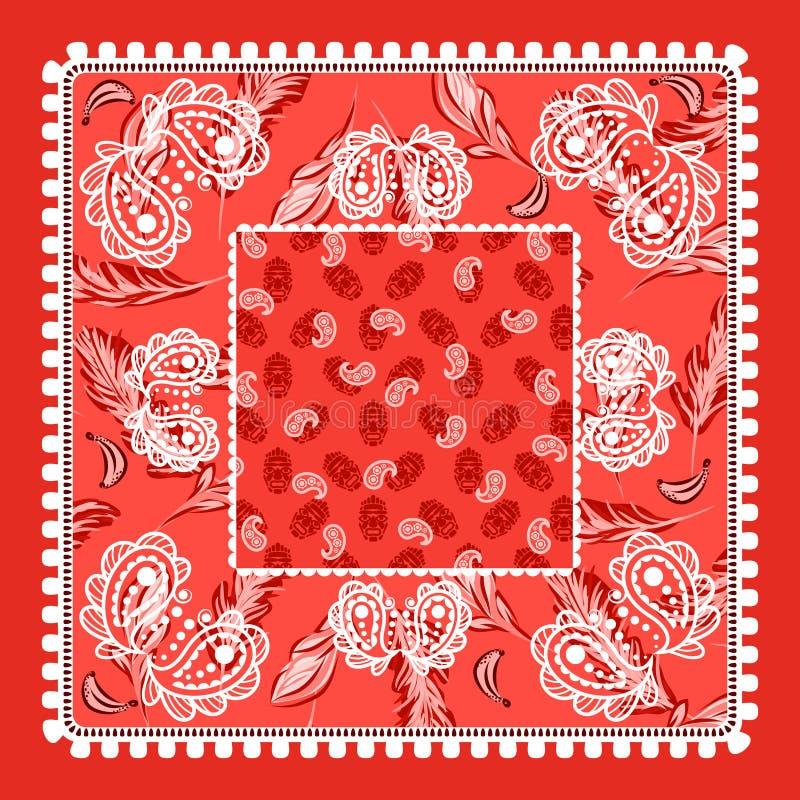 Vectorontwerp van Bandana het rode Paisley stock illustratie