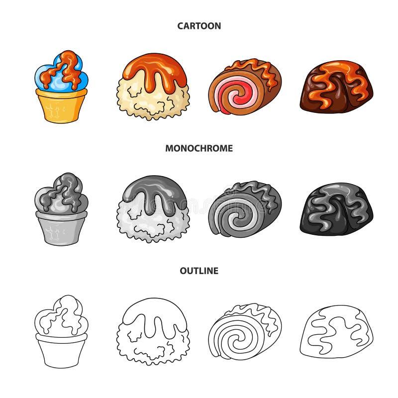 Vectorontwerp van banketbakkerij en culinair embleem Inzameling van banketbakkerij en productvoorraad vectorillustratie stock illustratie