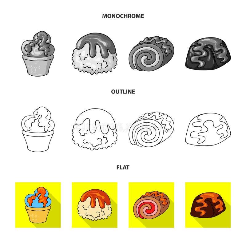 Vectorontwerp van banketbakkerij en culinair embleem Inzameling van banketbakkerij en productvoorraadsymbool voor Web royalty-vrije illustratie