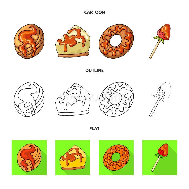 Vectorontwerp van banketbakkerij en culinair embleem Reeks van banketbakkerij en productvoorraad vectorillustratie vector illustratie