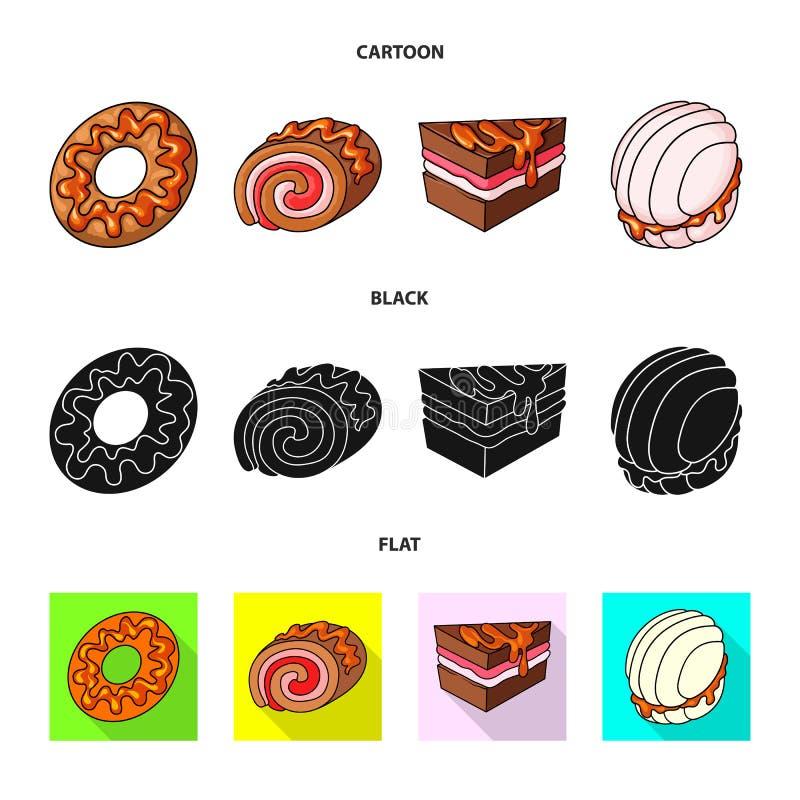 Vectorontwerp van banketbakkerij en culinair embleem Reeks van banketbakkerij en productvoorraadsymbool voor Web royalty-vrije illustratie