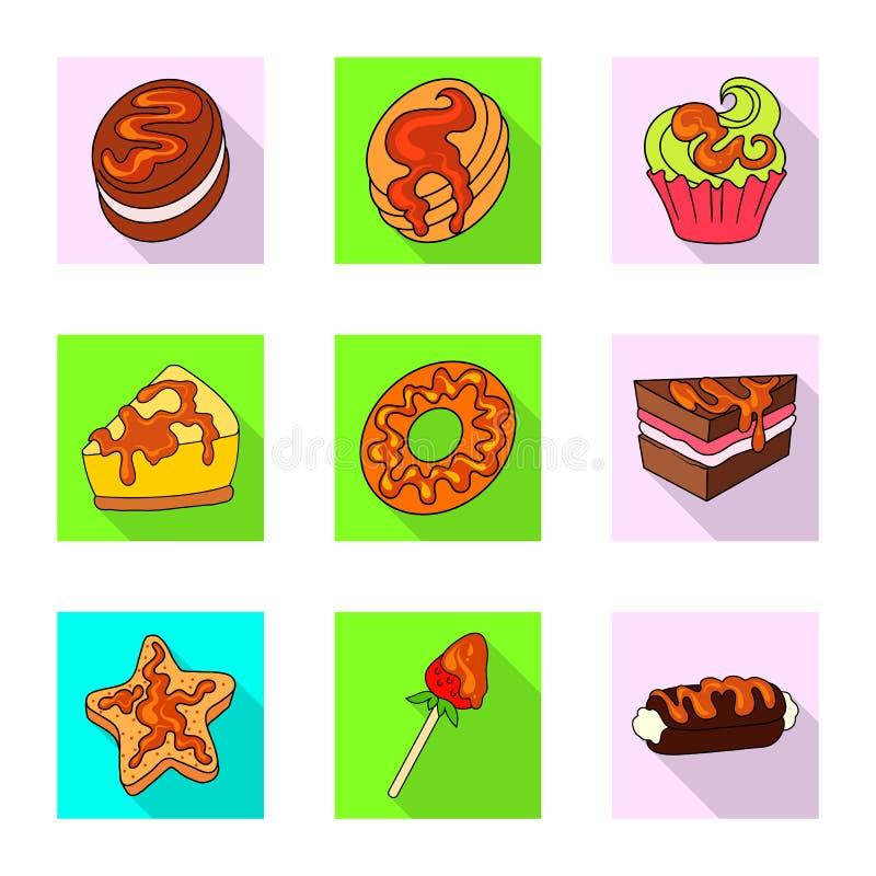 Vectorontwerp van banketbakkerij en culinair pictogram Reeks van banketbakkerij en kleurrijke voorraad vectorillustratie stock illustratie